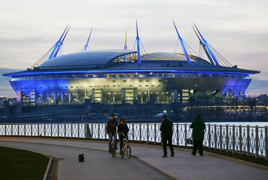 Football: Run-up to Russia World Cup Photo taken May 6, 2018, shows the Saint Petersburg Stadium in the Russian city, one of the venues of the 2018 football World Cup. PUBLICATIONxINxGERxSUIxAUTxHUNxONLY