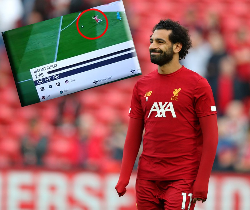 9th August 2019, Anfield, Liverpool, England; Premier League Football, Liverpool versus Norwich; Mohammed Salah of Liverpool smiles as the teams warm up prior to the kick off - Strictly Editorial Use Only. No use with unauthorized audio, video, data, fixture lists, club/league logos or live services. Online in-match use limited to 120 images, no video emulation. No use in betting, games or single club/league/player publications PUBLICATIONxINxGERxSUIxAUTxHUNxSWExNORxDENxFINxONLY ActionPlus12158687 DavidxBlunsden