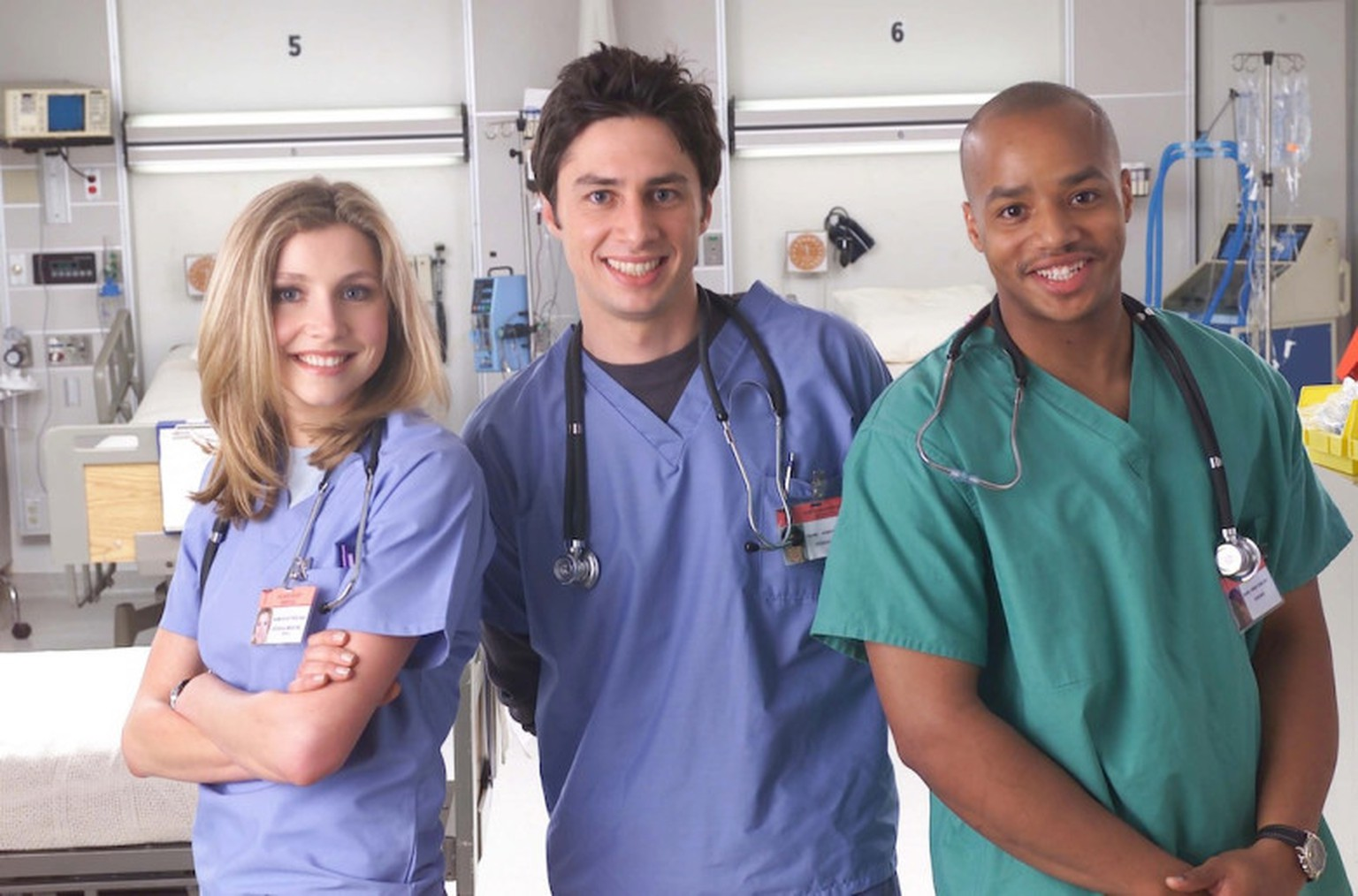 No Merchandising. Editorial Use Only. No Book Cover Usage. Mandatory Credit: Photo by NBC-TV/REX/Shutterstock (5885414n) Sarah Chalke, Zach Braff, Donald Faison Scrubs - 2002 NBC-TV TV Portrait