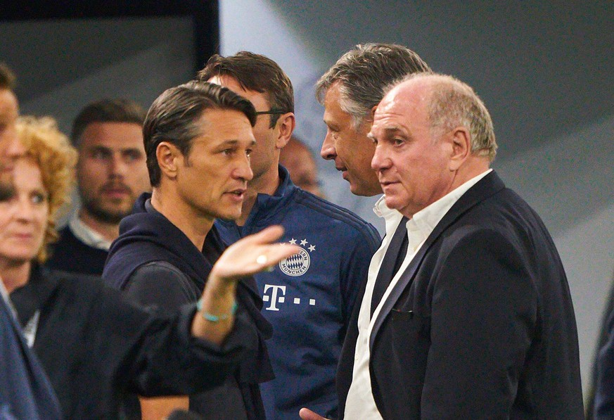Uli HOENESS (FCB President ), FCB President and chairman, headcoach Niko Kovac (FCB), team manager, coach, talk, discuss, argue, entertain, action, give instructions, BORUSSIA DORTMUND - FC BAYERN MUNICH 2-0 DFL REGULATIONS PROHIBIT ANY USE OF PHOTOGRAPHS AS IMAGE SEQUENCES AND/OR QUASI-VIDEO. DFL SUPERCUP, Final 1. German Football League, matchday in Dortmund, August 03, 2019, Season 2019/2020