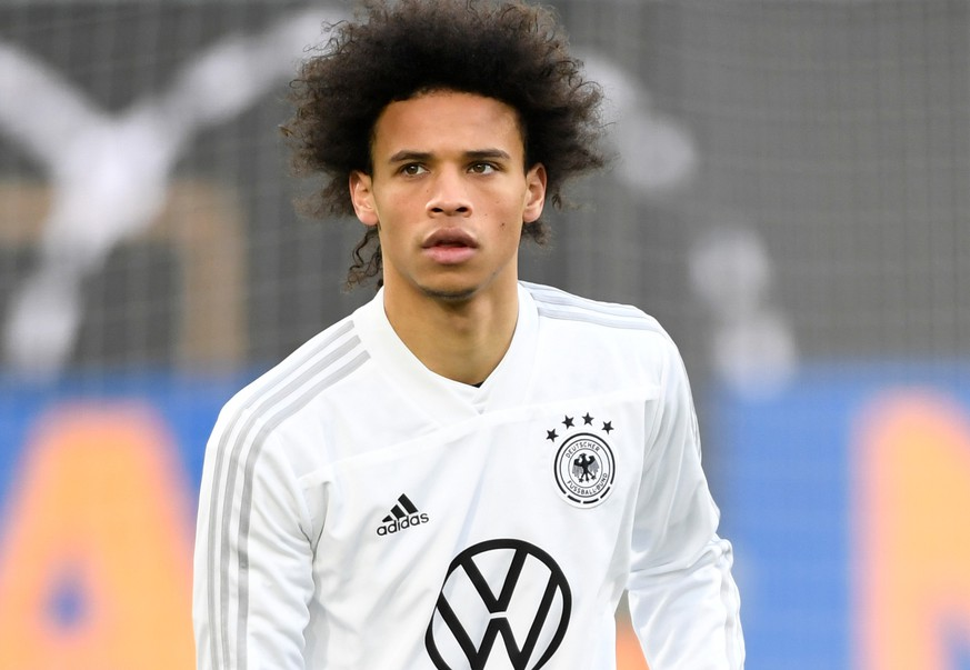 Soccer Football - International Friendly - Germany Training - Volkswagen Arena, Wolfsburg, Germany - March 19, 2019   Germany's Leroy Sane during training   REUTERS/Fabian Bimmer
