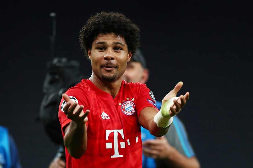 Soccer Football - Champions League - Group B - Tottenham Hotspur v Bayern Munich - Tottenham Hotspur Stadium, London, Britain - October 1, 2019  Bayern Munich's Serge Gnabry celebrates after the match   REUTERS/Eddie Keogh