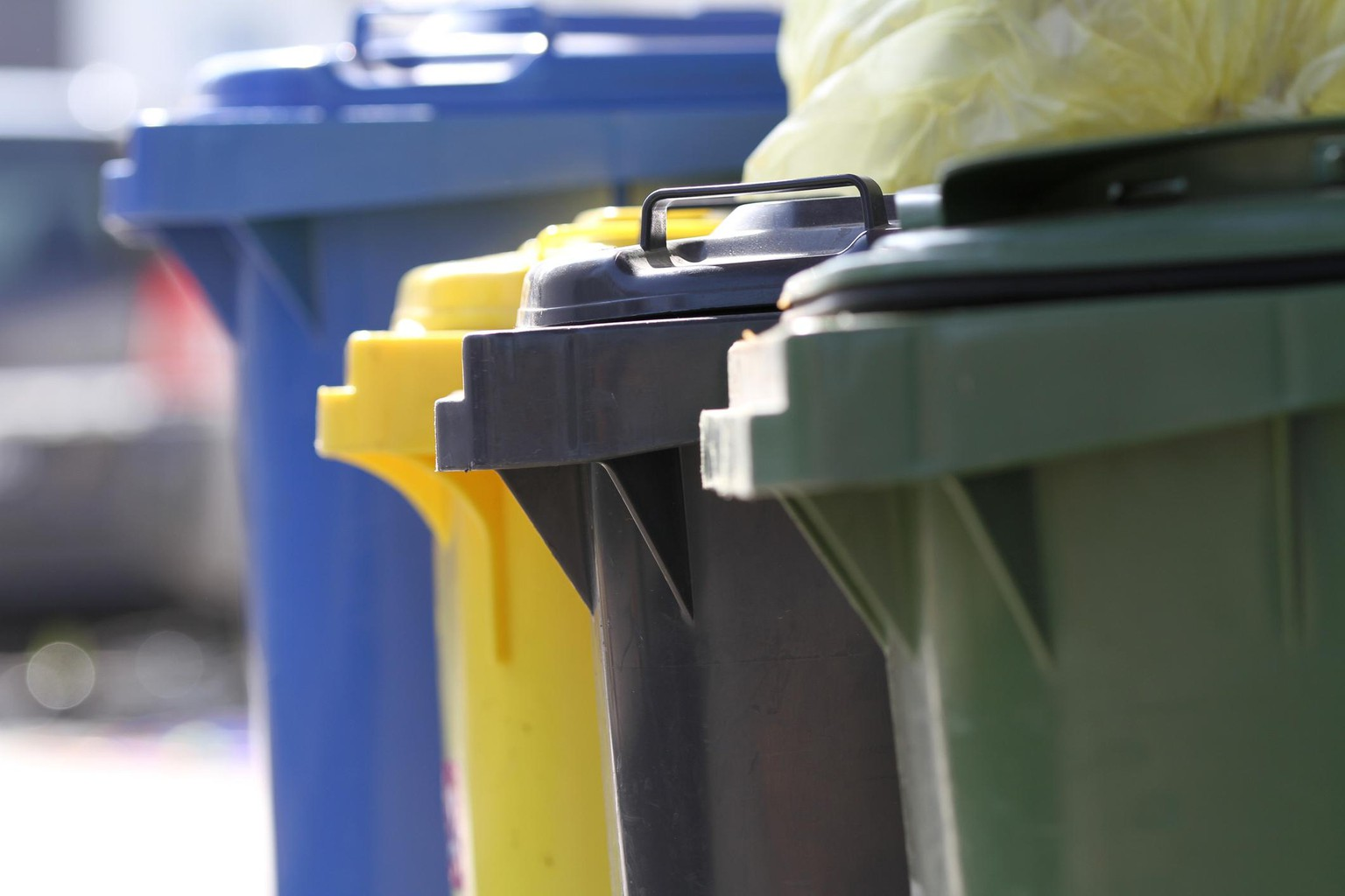 Garbage cans in different colors (blue, yellow, green, grey) in Germany.