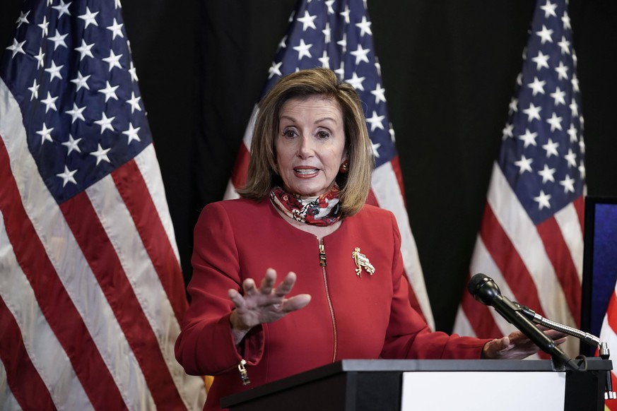 November 3, 2020, Washington, District of Columbia, USA: Speaker of the United States House of Representatives Nancy Pelosi Democrat of California, talks to reporters about Election Day results in races for the House of Representatives, at Democratic National Committee headquarters in Washington, Tuesday, Nov. 3, 2020. She was joined on a video call by Rep. Cheri Bustos, D-Ill., chairwoman of the Democratic Congressional Campaign Committee Washington USA - ZUMAs152 20201103_zaa_s152_120 Copyright: xJ.xScottxApplewhitex-xPoolxViaxCx