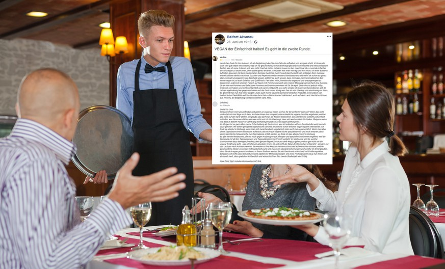 Indignant guests expressing dissatisfaction with ordered dishes served by young waiter in restaurant