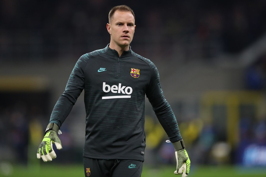 Marc-Andre Ter Stegen of FC Barcelona, Barca during the UEFA Champions League match at Giuseppe Meazza, Milan. Picture date: 10th December 2019. Picture credit should read: Jonathan Moscrop/Sportimage PUBLICATIONxNOTxINxUK SPI-0370-0223