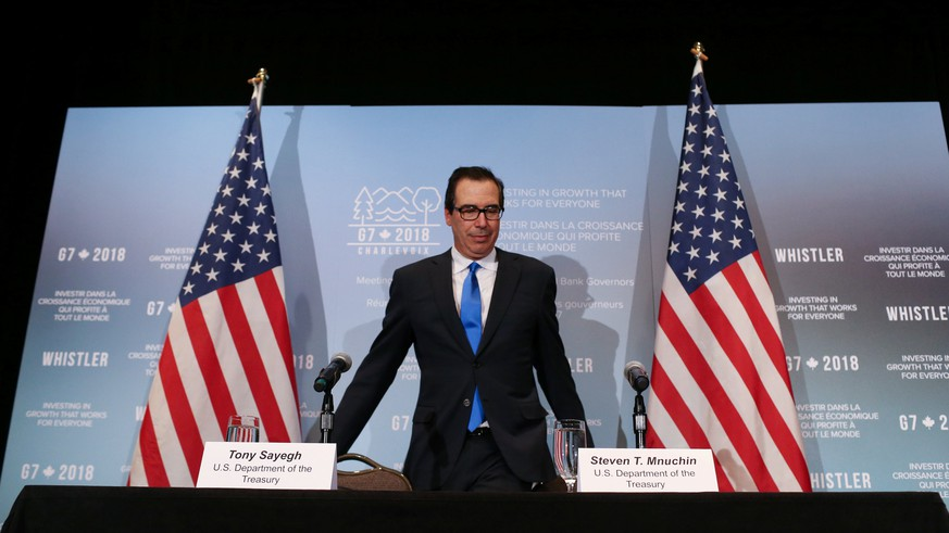 United States Secretary of the Treasury Steven Mnuchin arrives at a news conference after the G7 Finance Ministers Summit in Whistler, British Columbia, Canada, June 2, 2018.  REUTERS/BEN NELMS