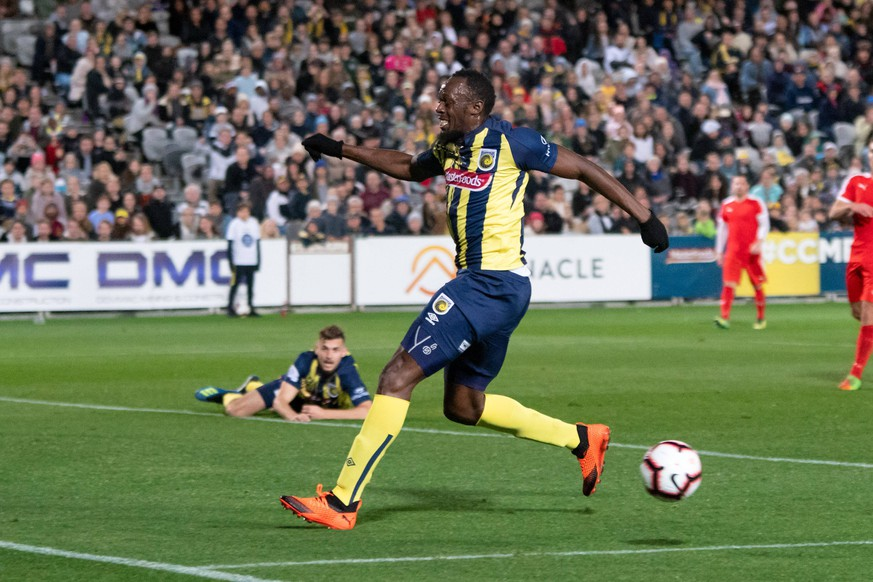 GOSFORD, AUSTRALIA - AUGUST 31: Central Coast Mariners player Usain Bolt (95) at The A-League trial match between the Central Coast Mariners and Central Coast Selecton August 31, 2018 at Central Coast Stadium in Gosford, Australia. (Photo by Speed Media/Icon Sportswire) SOCCER: AUG 31 Hyundai A-League - Central Coast Mariners v Central Coast Select PUBLICATIONxINxGERxSUIxAUTxHUNxRUSxSWExNORxDENxONLY Icon18083145