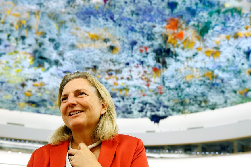 Austria's Foreign Minister Karin Kneissl smiles after her address to the Human Rights Council at the United Nations in Geneva, Switzerland, June 26, 2018. REUTERS/Denis Balibouse