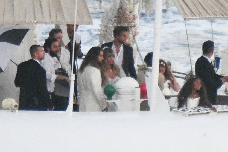 Heidi Klum and Tom Kaulitz are seen getting married on Christina O yacht on August 03, 2019 in Capri, Italy.