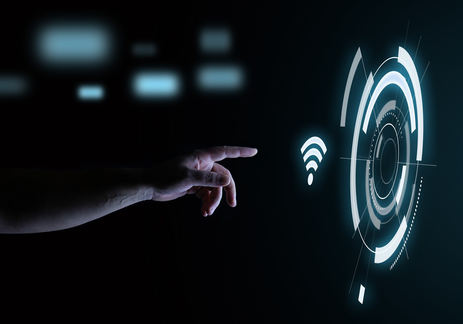 Wifi Technology Icon Digital Touch Hologram User Interface Technology Concept in the Dark