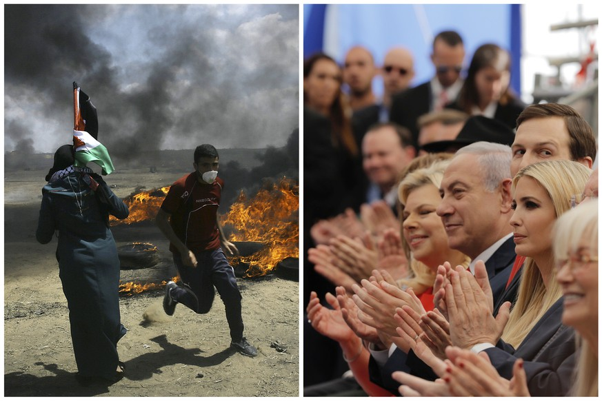 In this photo combination, Palestinians protest near the border of Israel and the Gaza Strip, left, and on the same day dignitaries, from left, Sara Netanyahu, her husband Israeli Prime Minister Benjamin Netanyahu, Senior White House Advisor Jared Kushner, and U.S. President Donald Trump's daughter, Ivanka Trump, applaud at the opening ceremony of the new U.S. embassy in Jerusalem on Monday, May 14, 2018. Netanyahu praised the inauguration of the embassy as a