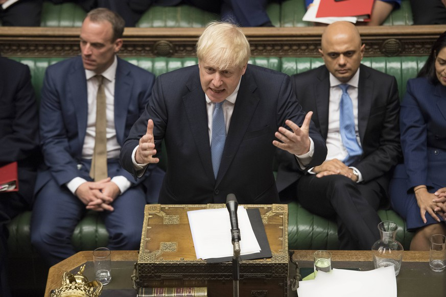 (190725) -- LONDON, July 25, 2019 (Xinhua) -- British Prime Minister Boris Johnson (front) makes his first statement in the House of Commons in London, Britain, on July 25, 2019. (Jessica Taylor/UK Parliament/Handout via Xinhua) HOC MANDATORY CREDIT: UK Parliament/Jessica Taylor BRITAIN-LONDON-BORIS JOHNSON-HOUSE OF COMMONS-STATEMENT PUBLICATIONxNOTxINxCHN