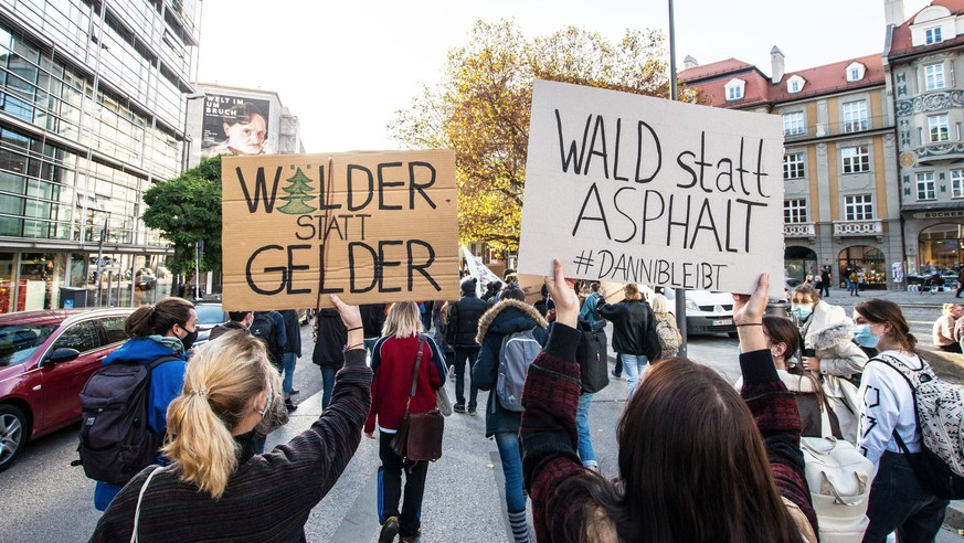 November 13, 2020, Munich, Bavaria, Germany: Fridays for Future Germany has returned to the streets during the second wave of Coronavirus to protest against the clearing of the Dannenrod Forest Dannenroder Forst. The demonstrators marched from Marienplatz to the Green Party offices where three protestors climbed a tree a hung a banner which eventually resulted in a police response that was initially peacefully resolved until unidentified plainclothes officers attempted an apprehension without identifying themselves according to witnesses. The forest is currently being cleared for the Autobahn A49 Gleental bridge project, against which FFF and various environmental protection groups are protesting and demanding the Green party - ZUMAb160 20201113_zbp_b160_036 Copyright: xSachellexBabbarx