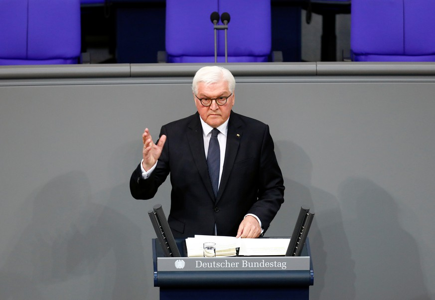 FILE PHOTO: German President Frank-Walter Steinmeier delivers a speech in the the Bundestag (lower house of parliament) in Berlin, Germany, January 29, 2020. REUTERS/Michele Tantussi/File Photo