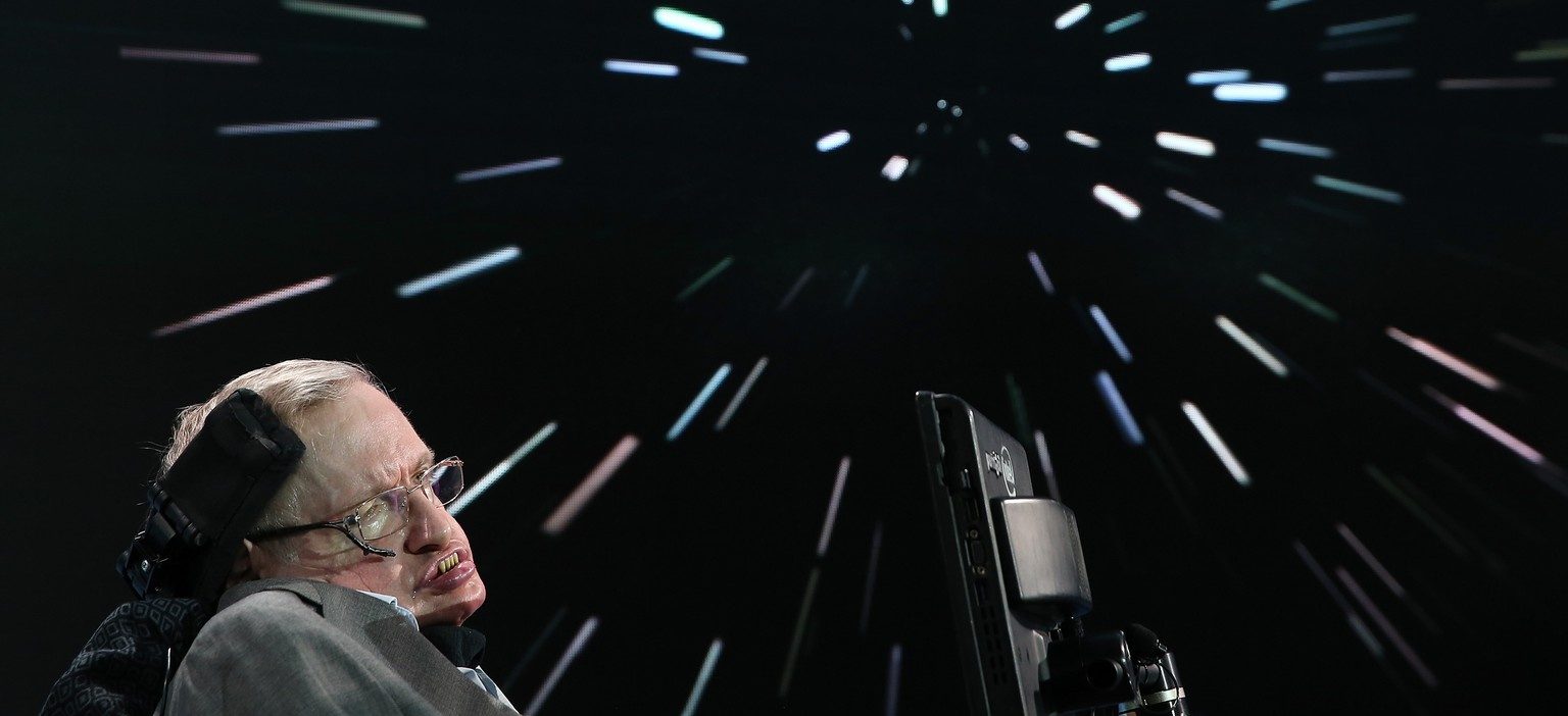 NEW YORK, NEW YORK - APRIL 12:  Professor Stephen Hawking attends the New Space Exploration Initiative