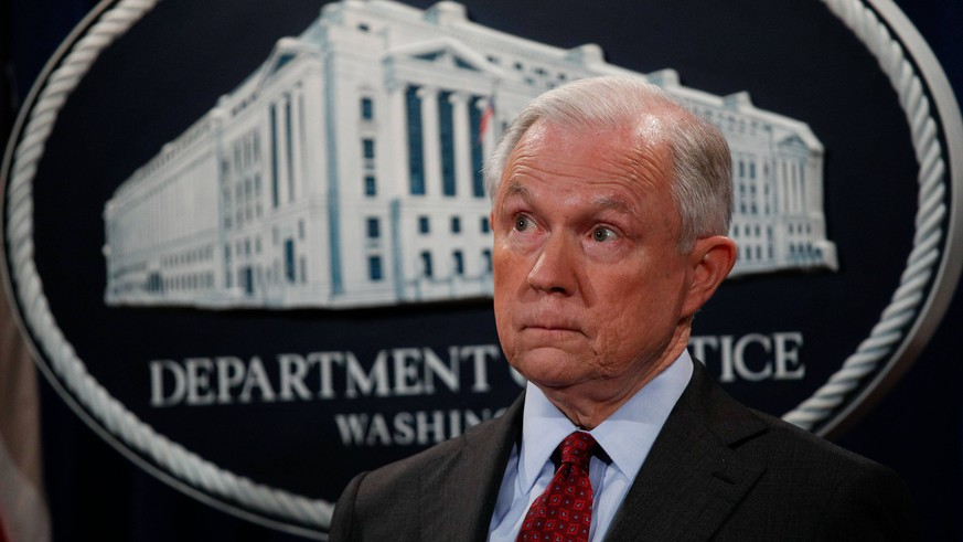 (170721) -- WASHINGTON, July 21, 2017 -- U.S. Attorney General Jeff Sessions attends a press conference of the Department of Justice in Washington July 20, 2017. Jeff Sessions said on Thursday that he would stay on his job despite President Donald Trump s public attacks on his recusal from the ongoing Russia probe. ) (gj) U.S.-WASHINGTON-JEFF SESSIONS TingxShen PUBLICATIONxNOTxINxCHN