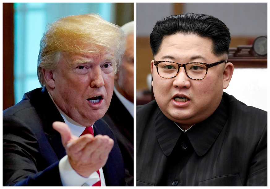 FILE PHOTO:  A combination photo shows U.S.  President Donald Trump and North Korea leader Kim Jong Un in Washignton, DC, U.S. May 17, 2018 and in Panmunjom, South Korea, April 27, 2018 respectively.   REUTERS/Kevin Lamarque and Korea Summit Press Pool/File Photos