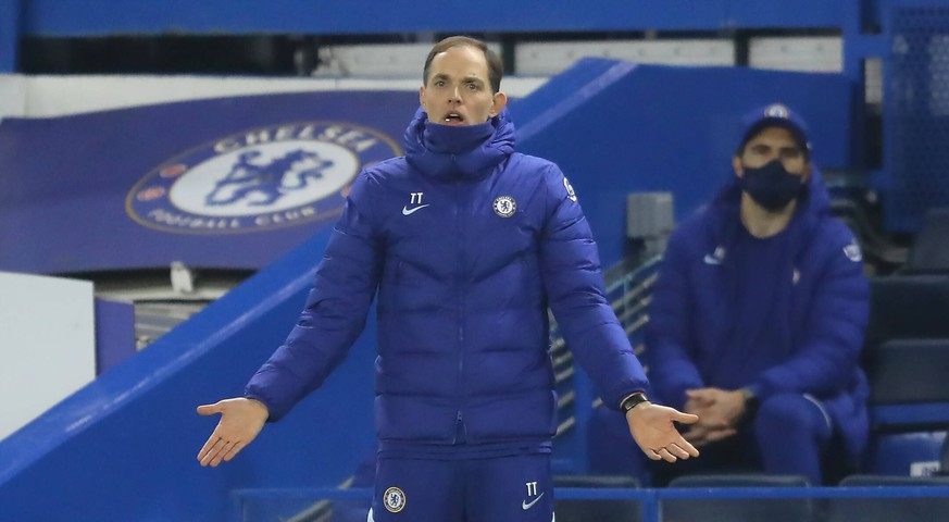 Chelsea v Wolverhampton Wanderers - Premier League - Stamford Bridge Chelsea manager Thomas Tuchel on the touchline during the Premier League match at Stamford Bridge, London. Picture date: Wednesday January 27, 2021. EDITORIAL USE ONLY No use with unauthorised audio, video, data, fixture lists, club/league logos or live services. Online in-match use limited to 120 images, no video emulation. No use in betting, games or single club/league/player publications. PUBLICATIONxINxGERxSUIxAUTxONLY Copyright: xRichardxHeathcotex 57763090