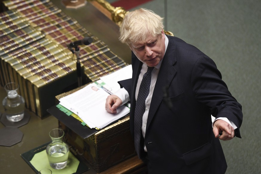 News Bilder des Tages 191023 -- LONDON, Oct. 23, 2019 Xinhua -- British Prime Minister Boris Johnson speaks during the Prime Minister s Questions at the House of Commons in London, Britain, on Oct. 23, 2019. British Prime Minister Boris Johnson said Wednesday that he still wants Britain to leave the European Union EU on Oct. 31, despite losing a vital vote on Tuesday night that derailed his strategy. Jessica Taylor/UK Parliament/Handout via Xinhua HOC MANDATORY CREDIT: UK Parliament/Jessica Taylor BRITAIN-LONDON-PMQ PUBLICATIONxNOTxINxCHN