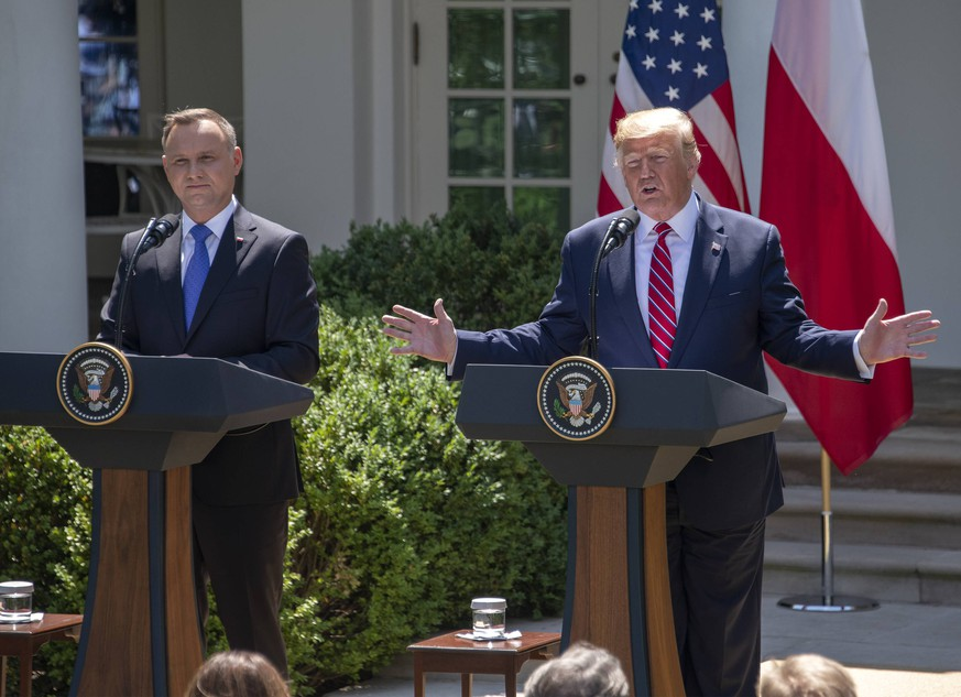United States President Donald J. Trump and President Andrzej Duda of the Republic of Poland, conduct a joint press conference in the Rose Garden of the White House in Washington, DC on Wednesday, June 12, 2019. PUBLICATIONxINxGERxSUIxAUTxONLY Copyright: xSachsx/xCNPx/xMediaPunchx