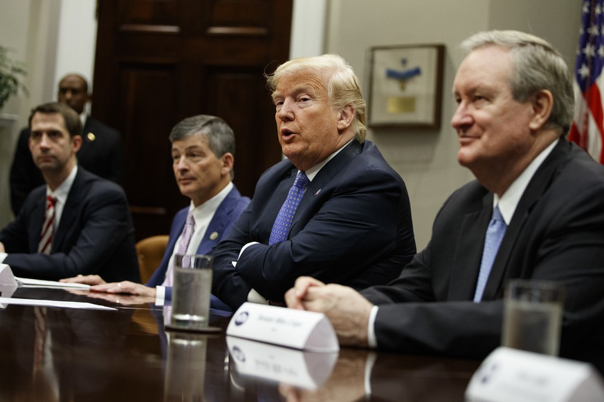 President Donald Trump speaks during a roundtable on the