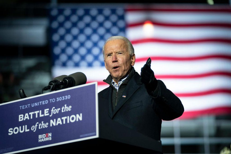 PITTSBURGH, PA - NOVEMBER 02: Democratic presidential nominee Joe Biden speaks during a drive-in campaign rally at Heinz Field on November 02, 2020 in Pittsburgh, Pennsylvania. One day before the election, Biden is campaigning in Pennsylvania, a key battleground state that President Donald Trump won narrowly in 2016. (Photo by Drew Angerer/Getty Images)