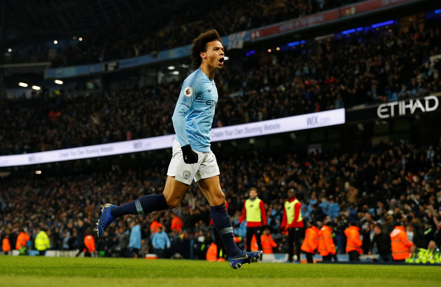 Soccer Football - Premier League - Manchester City v Liverpool - Etihad Stadium, Manchester, Britain - January 3, 2019  Manchester City's Leroy Sane celebrates scoring their second goal   REUTERS/Phil Noble  EDITORIAL USE ONLY. No use with unauthorized audio, video, data, fixture lists, club/league logos or