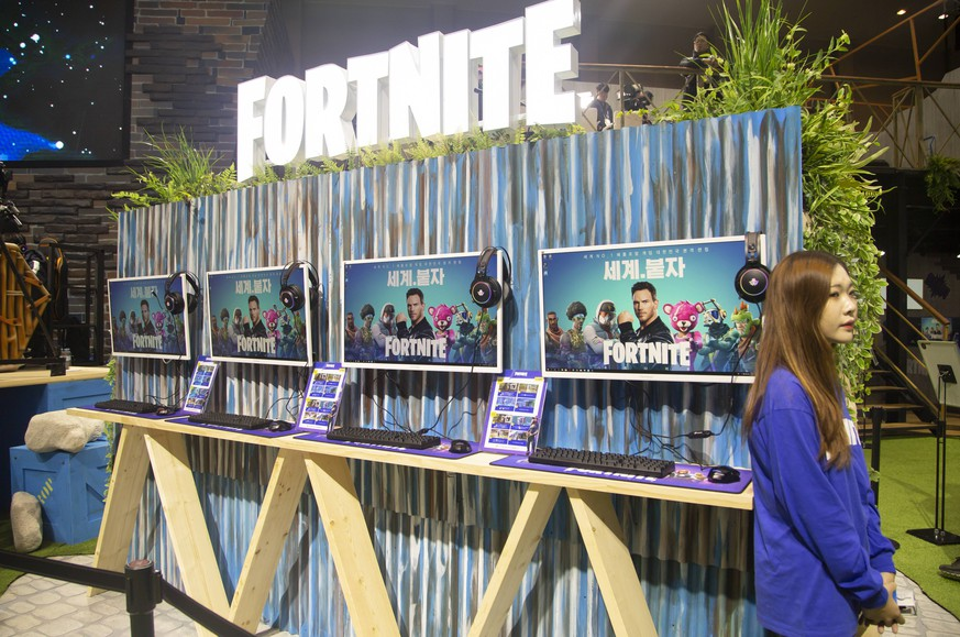 G-Star Global Game Exhibition, Nov 15, 2018 : Promotional booth of online video game Fortnite at the G-Star Global Game Exhibition in Busan, about 420 km (261 miles) southeast of Seoul, South Korea. South Korea s largest computing game expo, Global Game Exhibition G-STAR 2018, showcases various computer and mobile games and will be held at BEXCO in Busan from Nov 15-18. A total of 689 game developers and distributors from 36 countries are taking part in the event. PUBLICATIONxINxGERxSUIxAUTxHUNxONLY (91858766)