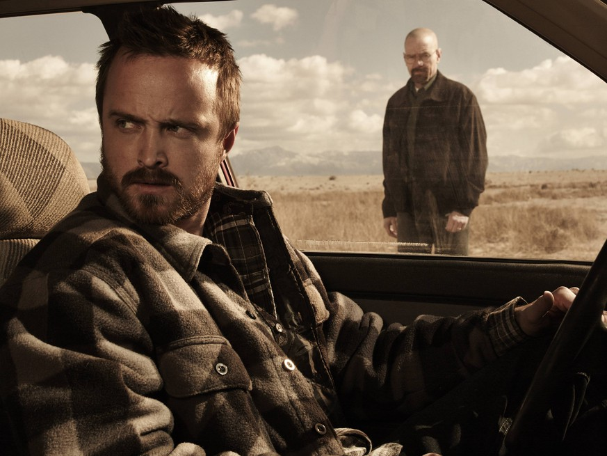 Jesse Pinkman (Aaron Paul) and Walter White (Bryan Cranston) - Breaking Bad _ Season 5B _ Gallery - Photo Credit: Frank Ockenfels 3/AMC Los Angeles CA USA PUBLICATIONxINxGERxSUIxAUTxONLY Copyright: xJRCxPhotoxLibraryx 32076_032JRC