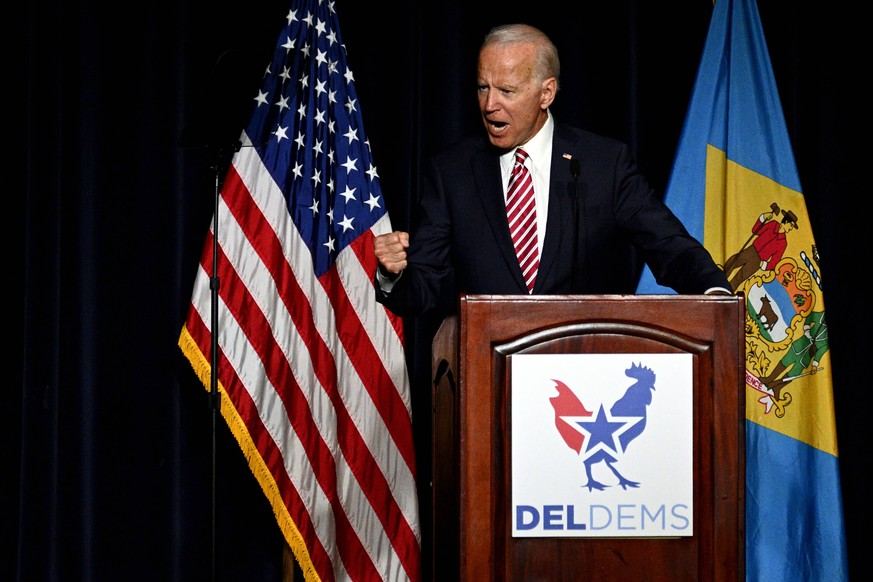 March 16, 2019 - Dover, Delaware, United States - Joe Biden delivers the keynote speech at the First State Democratic Dinner at the Rollins Center in Dover, DE on March 16, 2019. The former U.S. Vice President refrained from announcing his candidacy, even-though early polls conducted in March indicate former Vice President Biden as the favorite of a large Democratic field of candidates. Dover United States PUBLICATIONxINxGERxSUIxAUTxONLY - ZUMAn230 20190316_zaa_n230_2155 Copyright: xBastiaanxSlabbersx