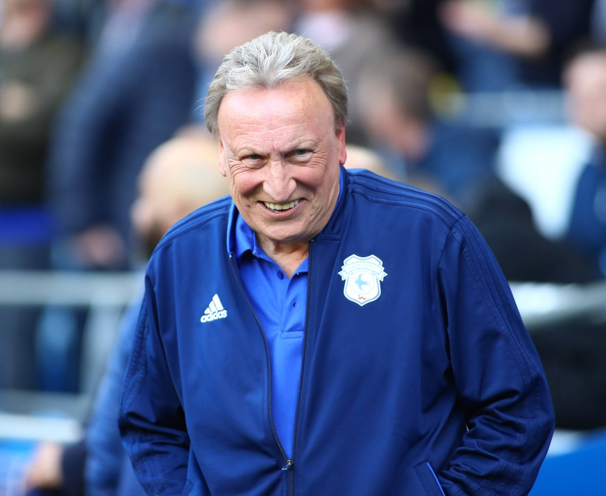 4th May 2019, Cardiff City Stadium, Cardiff, Wales; EPL Premier League football, Cardiff City versus Crystal Palace; Neil Warnock, Manager of Cardiff City enjoys a joke before kick off PUBLICATIONxINxGERxSUIxAUTxHUNxSWExNORxDENxFINxONLY ActionPlus12130762 NathanxMunkley