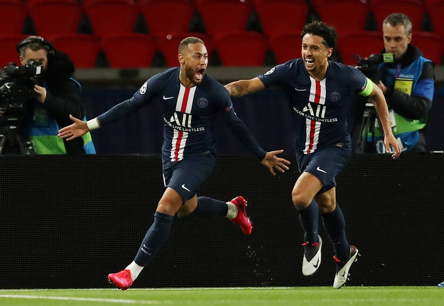 Soccer Football - Champions League - Round of 16 Second Leg - Paris St Germain v Borussia Dortmund - Parc des Princes, Paris, France - March 11, 2020 Paris St Germain s Neymar celebrates scoring their first goal with Marquinhos FOOTBALL : Paris St Germain v Borussia Dortmund - Ligue des Champions - Paris - 11/03/2020 Panoramic/Panoramic PUBLICATIONxNOTxINxFRAxITAxBEL