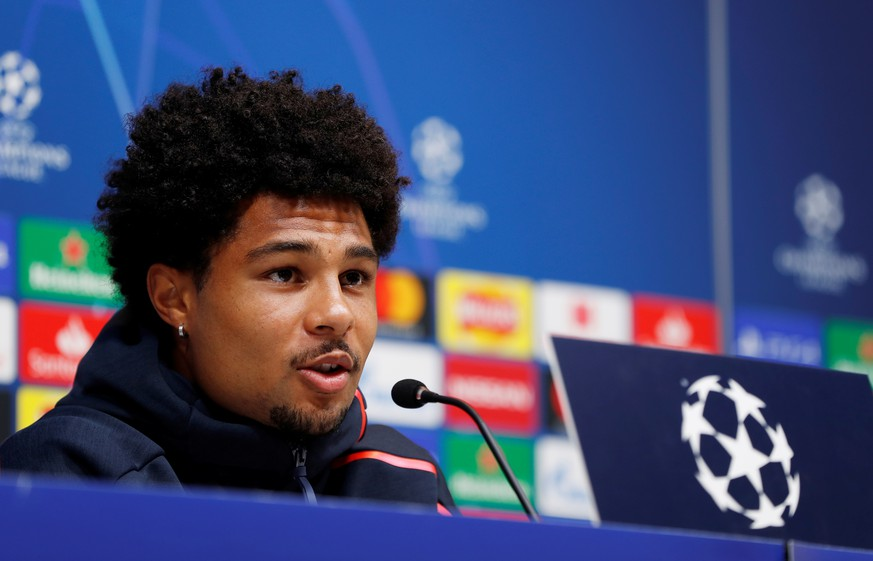Soccer Football - Champions League - Bayern Munich Press Conference - Tottenham Hotspur Stadium, London, Britain - September 30, 2019   Bayern Munich's Serge Gnabry during the press conference   Action Images via Reuters/Paul Childs