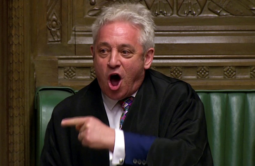 FILE PHOTO: Speaker of the House John Bercow announces the results of the vote on alternative Brexit options in Parliament in London, Britain, March 27, 2019 in this screen grab taken from video. Reuters TV via REUTERS/File Photo