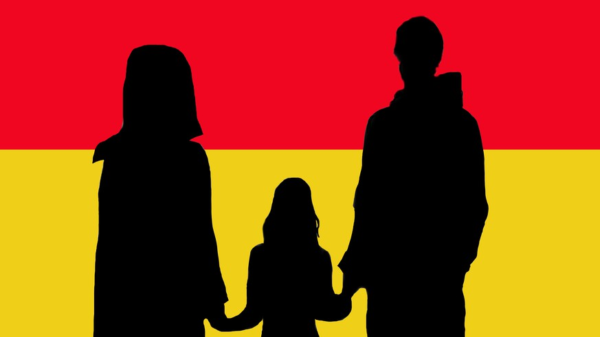 Refugees Welcome family with german flag