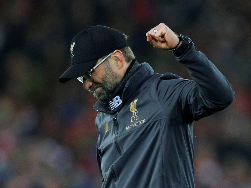 Soccer Football - Premier League - Liverpool v Arsenal - Anfield, Liverpool, Britain - December 29, 2018  Liverpool manager Juergen Klopp celebrates at the end of the match   REUTERS/Phil Noble   EDITORIAL USE ONLY. No use with unauthorized audio, video, data, fixture lists, club/league logos or