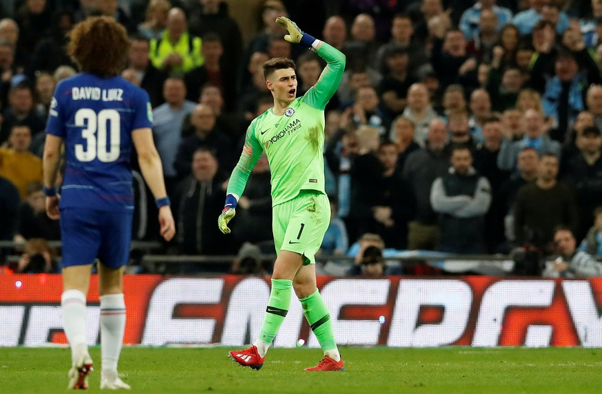 Soccer Football - Carabao Cup Final - Manchester City v Chelsea - Wembley Stadium, London, Britain - February 24, 2019  Chelsea's Kepa Arrizabalaga reacts after he is called to be substituted off   REUTERS/David Klein  EDITORIAL USE ONLY. No use with unauthorized audio, video, data, fixture lists, club/league logos or