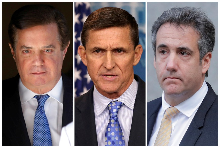 FILE PHOTO: Former Trump campaign manager Paul Manafort, former U.S. National Security Adviser General Michael Flynn and former lawyer of President Donald Trump Michael Cohen, are seen from Reuters files.   REUTERS/File Photos