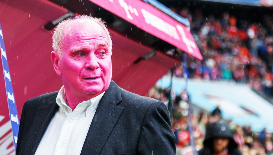 MUNICH, GERMANY - MAY 04: President Uli Hoeness of FC Bayern Muenchen looks on prior to the Bundesliga match between FC Bayern Muenchen and Hannover 96 at Allianz Arena on May 4, 2019 in Munich, Germany. (Photo by TF-Images/Getty Images)