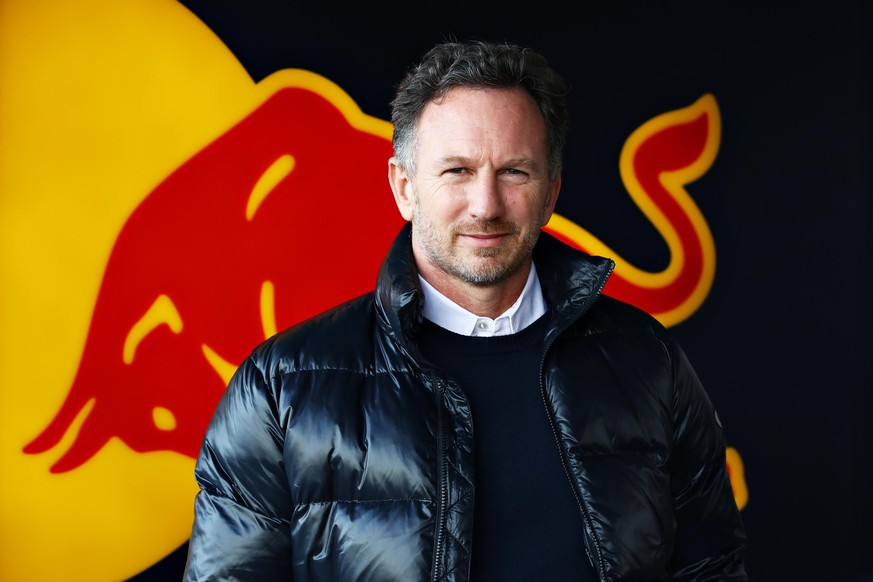 NORTHAMPTON, ENGLAND - FEBRUARY 24: Red Bull Racing Team Principal Christian Horner looks on in the garage during the Red Bull Racing Filming Day at Silverstone on February 24, 2021 in Northampton, England. (Photo by Mark Thompson/Getty Images for Red Bull Racing)