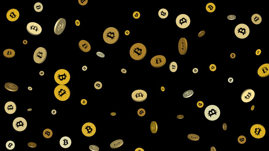Golden Bitcoin Coin confetti. Bitcoin cryptocurrency. Business concept. 3d confetti