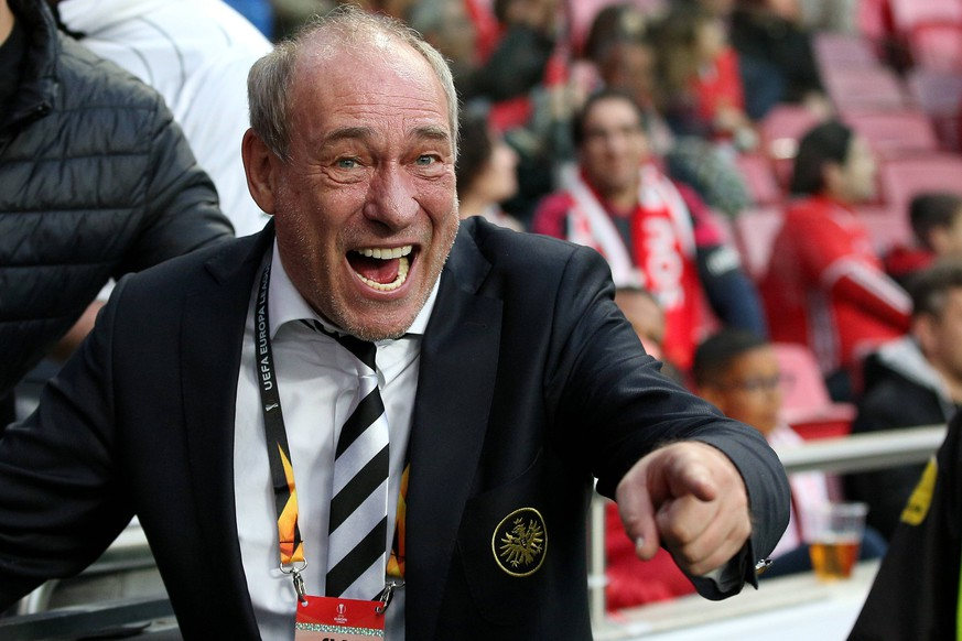 April 11, 2019 - Lisbon, Portugal - Eintracht Frankfurt s President Peter Fischer during the UEFA Europa League Quarter-Finals 1st Leg football match SL Benfica vs Eintracht Frankfurt at the Luz Stadium in Lisbon, Portugal, on April 11, 2019. SL Benfica v Eintracht Frankfurt - UEFA Europa League Quarter-Finals 1st Leg PUBLICATIONxINxGERxSUIxAUTxONLY - ZUMAn230 20190411_zaa_n230_703 Copyright: xPedroxFiuzax