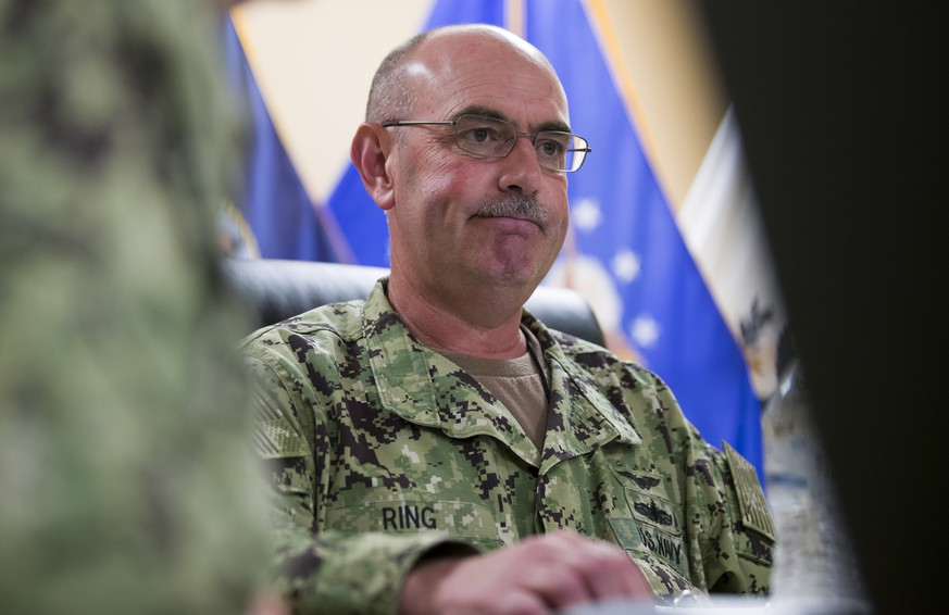 In this photo reviewed by U.S. military officials, U.S. Navy Rear Adm. John Ring, Joint Task Force Guantanamo Commander, pauses while speaking during a roundtable discussion with the media, Wednesday, April 17, 2019, in Guantanamo Bay Naval Base, Cuba. (AP Photo/Alex Brandon)