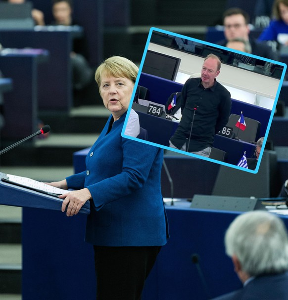 November 13, 2018 - Strasbourg, France - German Chancellor Angela Merkel during a debate on the futur of Europe during a plenary session at the European Parliament in Strasbourg, eastern France, November 13, 2018. German Chancellor Angela Merkel on November 13 made a clear call for a future European army, in an apparent rebuke to the US president who has called such proposals very insulting . Addressing European MEPs on her vision for the future of Europe, Merkel also called for a European Security Council that would centralise defence and security policy on the continent. Strasbourg France PUBLICATIONxINxGERxSUIxAUTxONLY - ZUMAn230 20181113_zaa_n230_238 Copyright: xAbdessalamxMirdassx