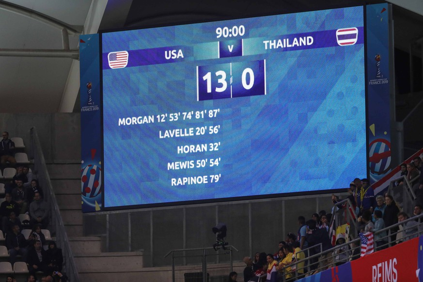 June 11, 2019: Reims, France: Scores show victory of 13 to 0 of the United States on the Thailand game valid for group F of the first phase of the World Cup of Women s Soccer in the Stadium Auguste-Delaune. Soccer 2019: Women s World Cup: USA 13:0 Thailand PUBLICATIONxINxGERxSUIxAUTxONLY - ZUMA19 - 20190611_mda_c233_009 Copyright: xVanessaxCarvalhox