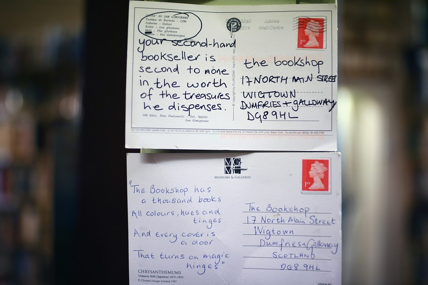 WIGTOWN, SCOTLAND - NOVEMBER 09:  Postcards sent to The Book Shop, the largest second hand bookstore in the country on November 9, 2017 in Wigtown,Scotland. Wigtown has had official 'book town' status since 1998, with Mr Bythell owning Scotland's largest second hand book shop since 2001with a stock of over one hundred thousand books covering almost every imaginable subject.    (Photo by Jeff J Mitchell/Getty Images)