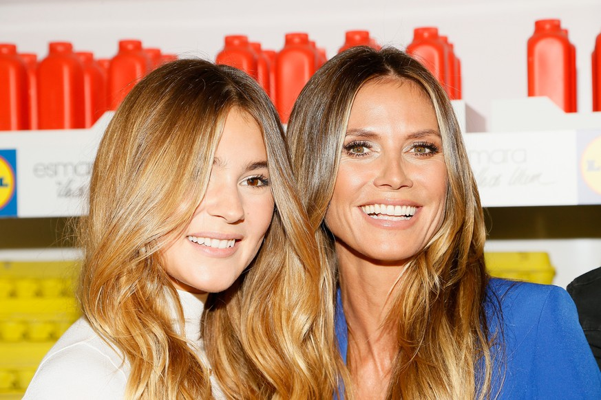 NEW YORK, NY - SEPTEMBER 07: Influencer Stefanie Giesinger  and Heidi Klum (R) attend the Esmara By Heidi Klum Lidl Fashion Presentation at New York Fashion Week #Letswow at ArtBeam on September 7, 2017 in New York City.  (Photo by Paul Morigi/Getty Images for Storey/North Six Group )