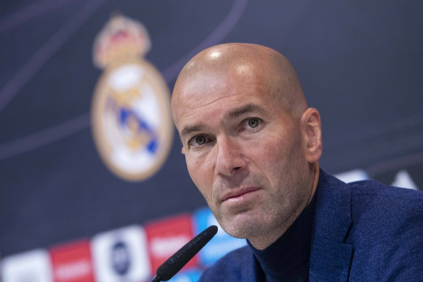 Real Madrid coach Zinedine Zidane during press conference PK Pressekonferenz to announce he leave the Real Madrid in Madrid, Spain. May 31, 2018. PUBLICATIONxINxGERxSUIxAUTxPOLxDENxNORxSWExONLY (20180531016)