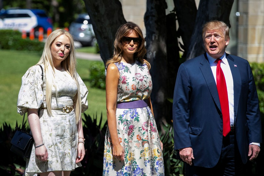 U.S. President Donald Trump arrives with first lady Melania Trump and Tiffany Trump for the Easter service at Bethesda-by-the-Sea Episcopal Church in Palm Beach, Florida, U.S., April 21, 2019.  REUTERS/Al Drago